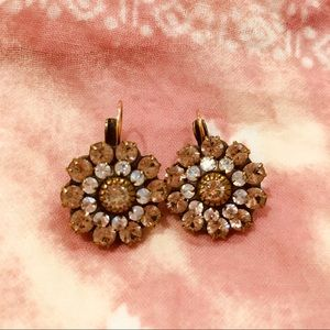Vintage pink and white crystal and brass earrings